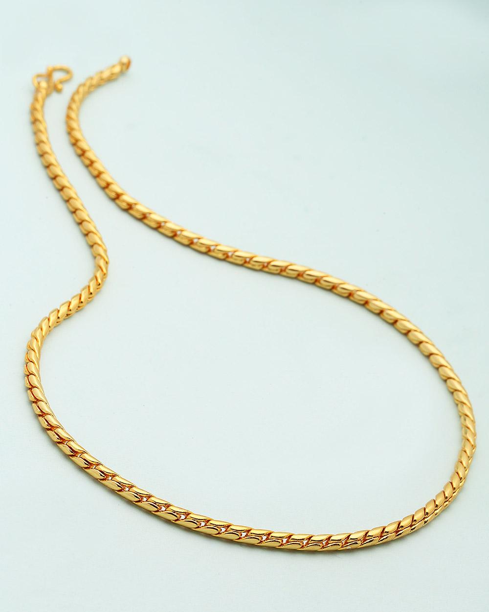 Buy Men\'s Yellow Gold Chain In Snake Pattern Online India   Voylla