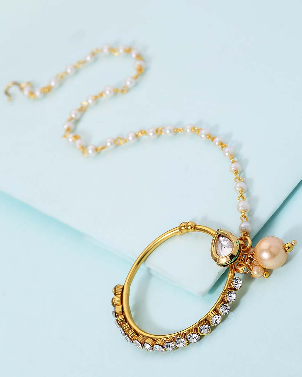 Buy Nose Ring With Pearl Chain For Women Online India | Voylla