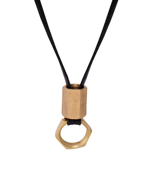 Buy designer mens pendants hex coupling nut pendant with black hex coupling nut pendant with black leather chain aloadofball Gallery