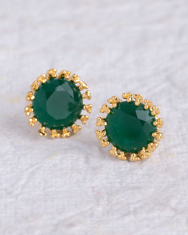 e97505cf2 Buy Designer Earrings Green Stone Adorned Stud Earrings for Women Online |  VOYLLA.