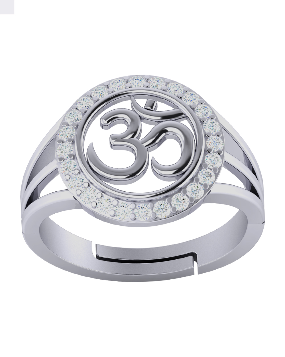 Buy Sterling Silver OM Designer Adjustable Ring with CZ Stones For ...