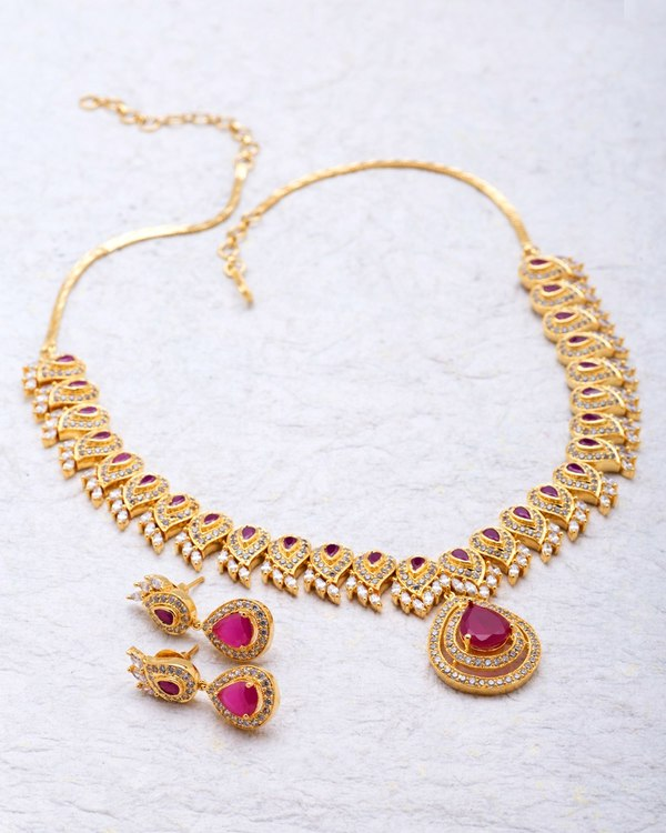 0a6676be8a1e2 Pear Drop Necklace Set Embellished With CZ & Ruby Stone For Women