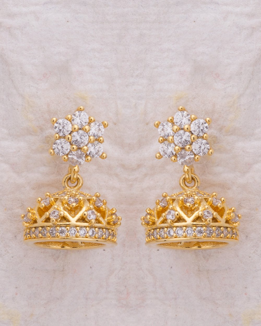 Buy Dainty Floral Jhumka Earrings with Gold Plating Online India ...