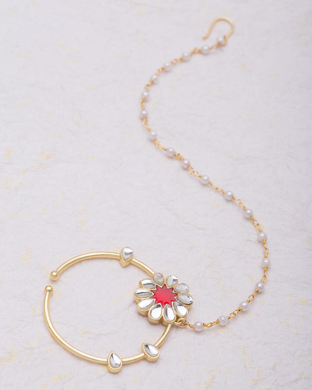 Buy Kundan and Pearl Embellished Floral Nath Online India | Voylla