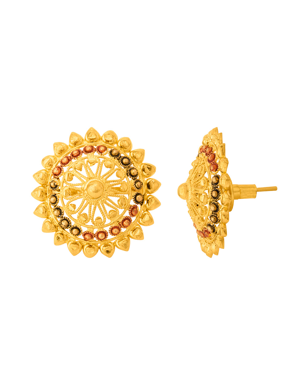 Buy Traditional Gold Plated Textured Stud Earrings Online India ...