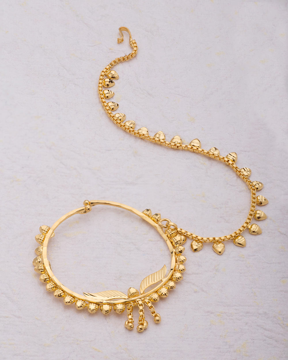 Yellow Gold Plated Traditional Nath Nose Ring | Buy Designer ...