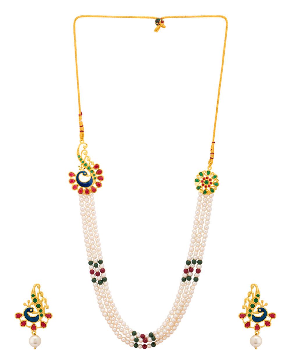 Buy Peacock Design Pearl Necklace Set Online India | Voylla