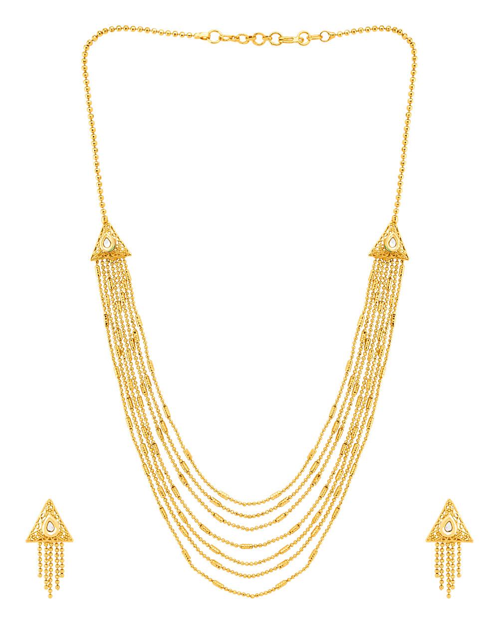 Buy Geometric Gold Plated Sanskriti Rani Haar Necklace Set Online ...