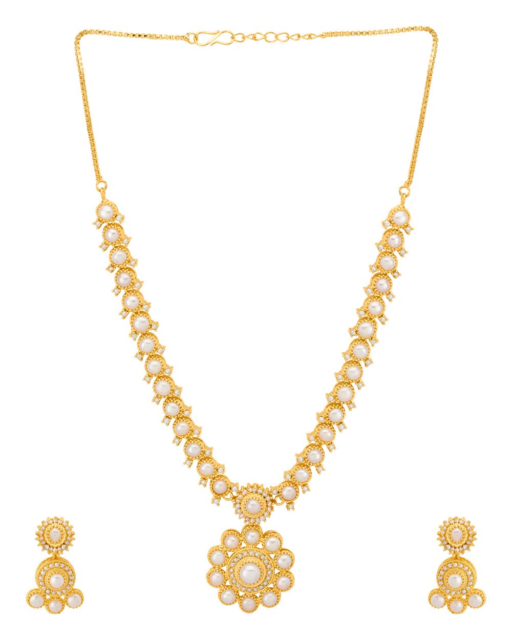 Buy Mandala Design Gold Plated Necklace Set with Pearl Beads Online ...