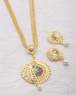 Buy designer pendant sets designer gold plated long pendant set buy designer pendant sets designer gold plated long pendant set online voylla aloadofball Images