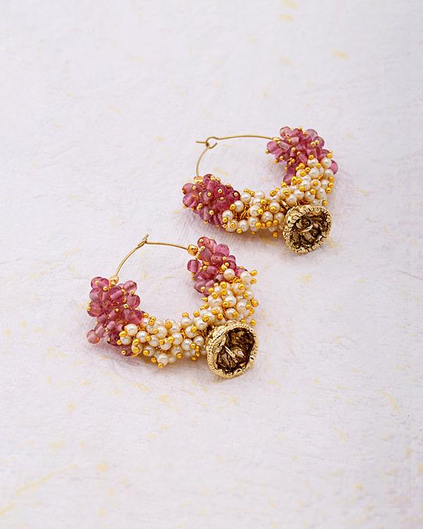 Pink Pearl Beads Cer Hoop Earrings From Ocean Huitre