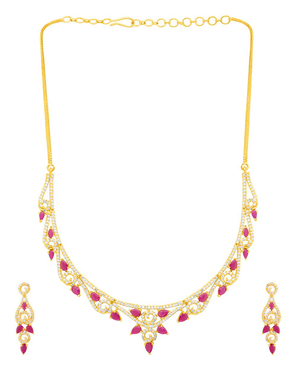 Meenakshi CZ Designer Gold Plated Necklace Set Buy Designer