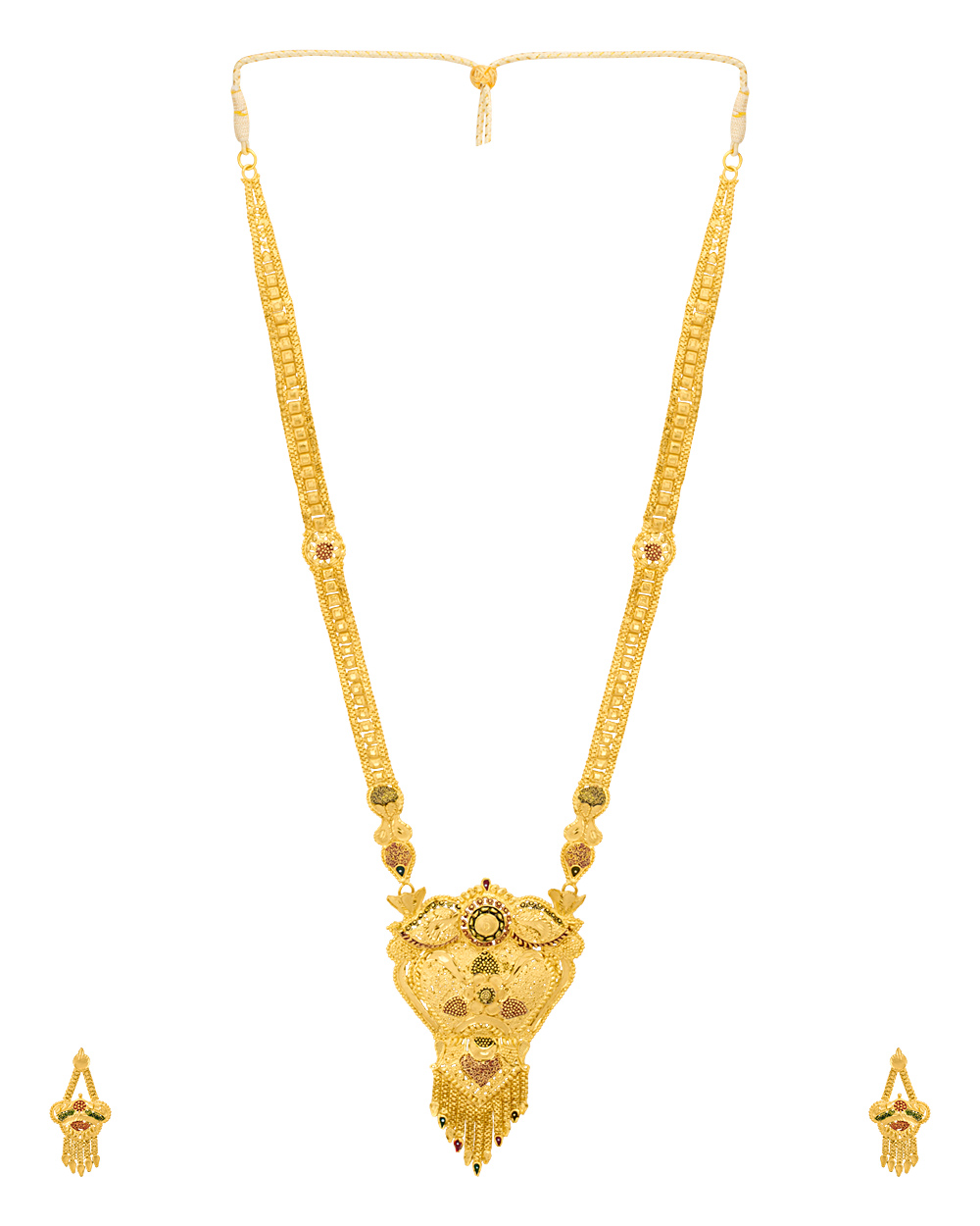 Buy Floral Gold Plated Rani Haar Necklace Set Online India | Voylla