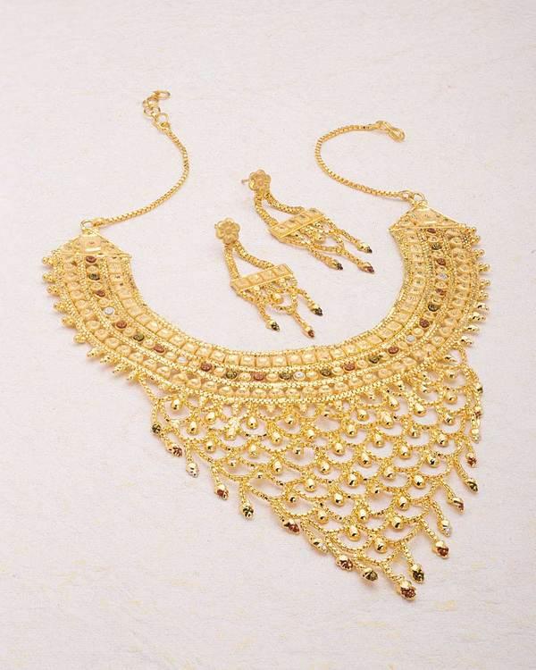 098f928dc0073 Filigree Design Gold Plated Choker Necklace Set
