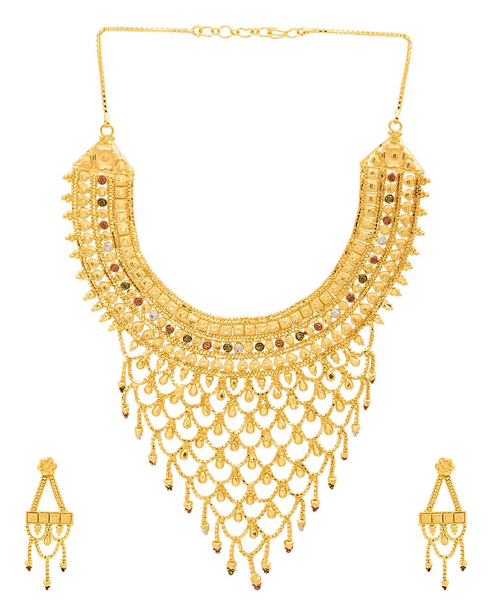 Buy Filigree Design Gold Plated Choker Necklace Set Online India ...