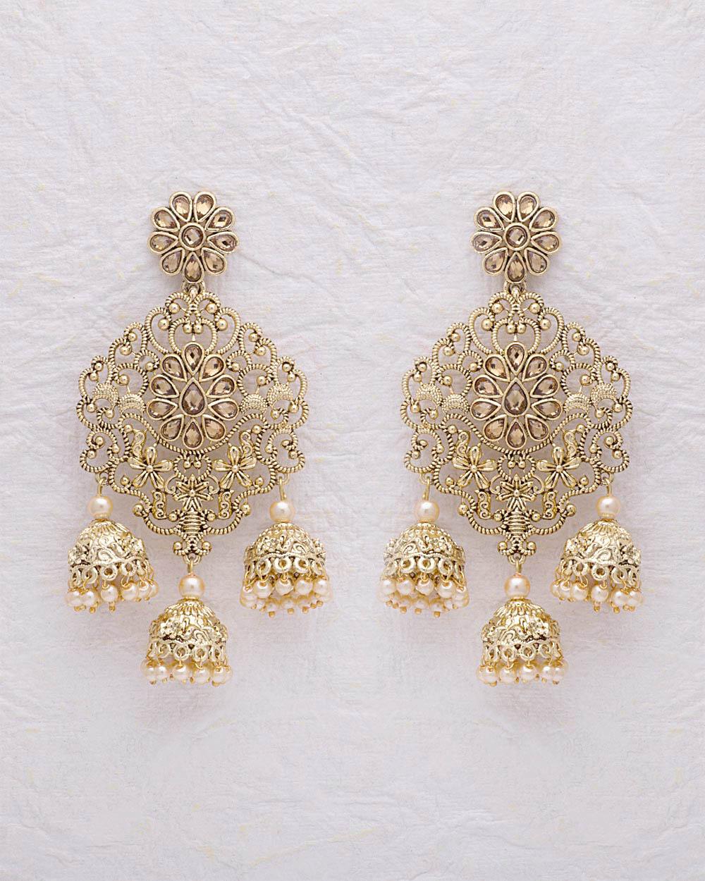 Buy Filigree Design Gold Plated Jhumka Dangler Earrings Online ...