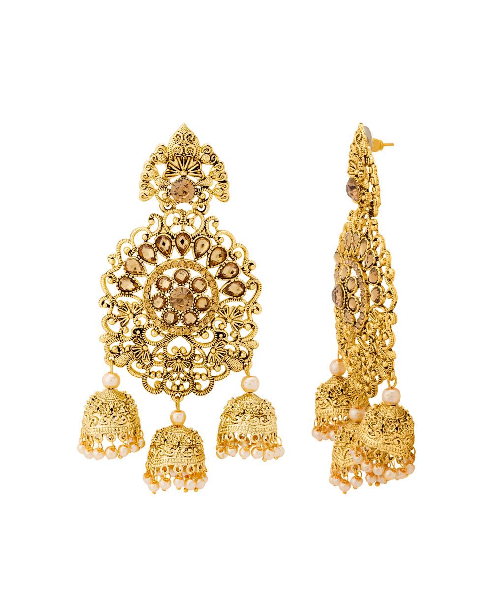 Buy Alluring Filigree Design Gold Plated Jhumka Dangler Earrings ...