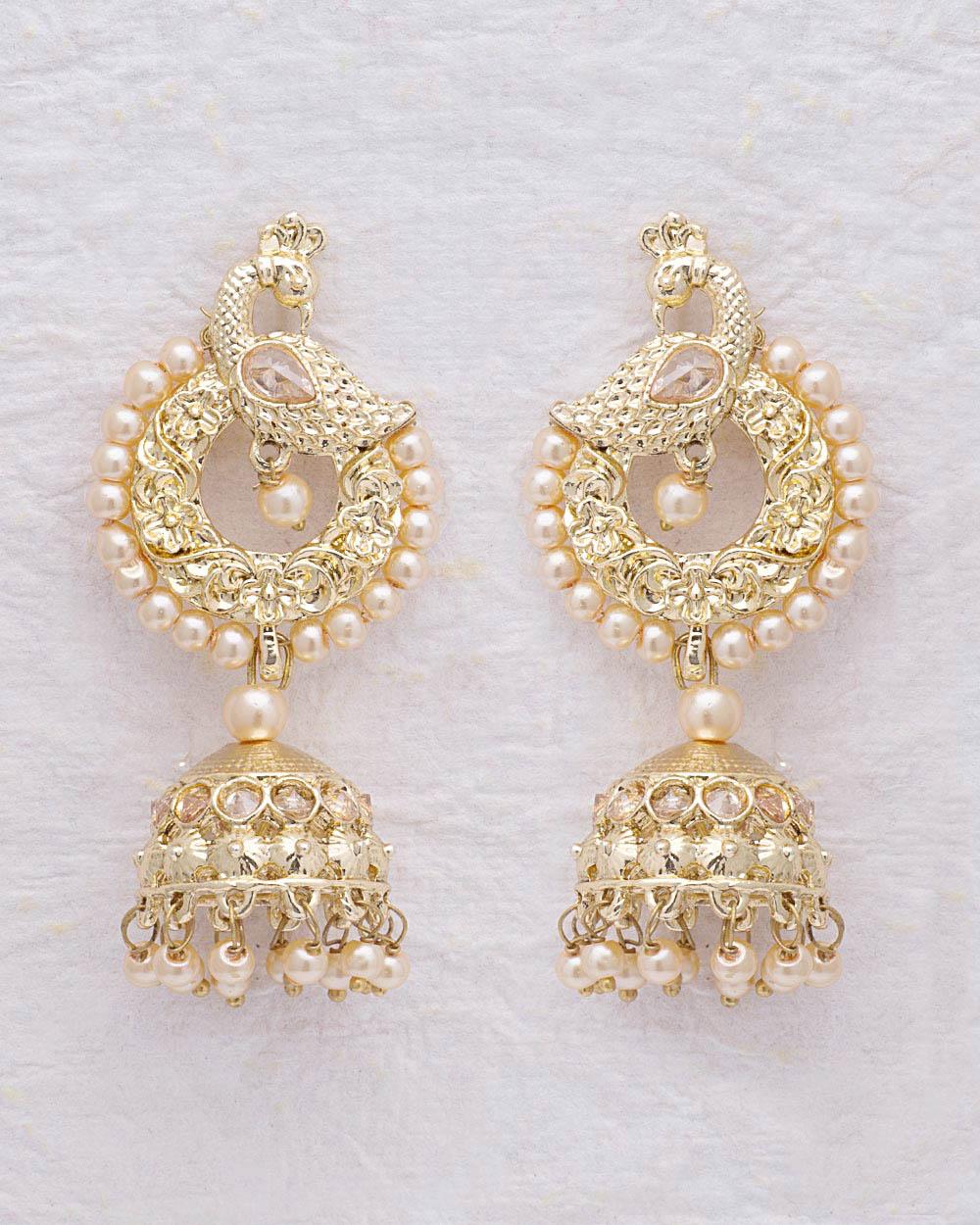 Buy Peacock Motif Gold Plated Jhumka Earrings Online India | Voylla