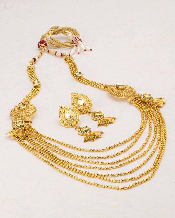5563b1f906171 Classic Gold Plated Sanskriti Rani Haar Necklace Set