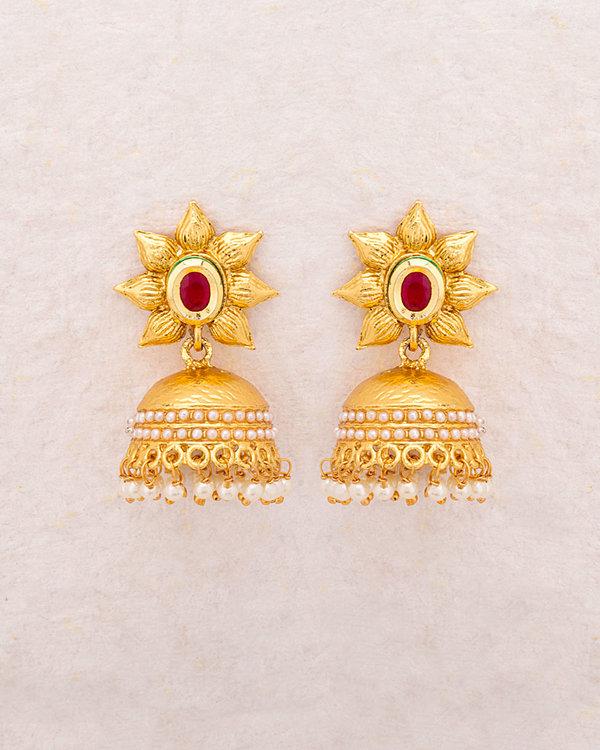 Designer Earrings Sanskriti Fl Jhumka With Gold Plating Online Voylla