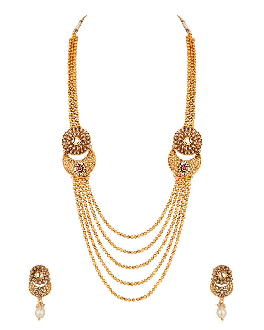 Buy Necklace Set with Gold Plated Bead Strands; Pearl Floral ...