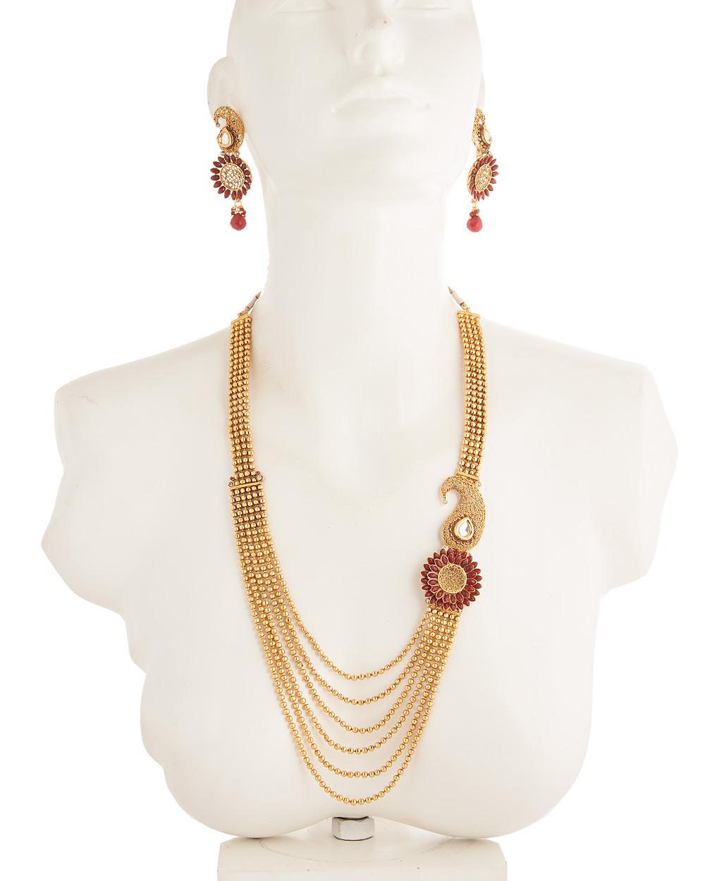 Buy necklace set with flower design one side pendant red stones necklace set with flower design one side pendant red stones mozeypictures Choice Image