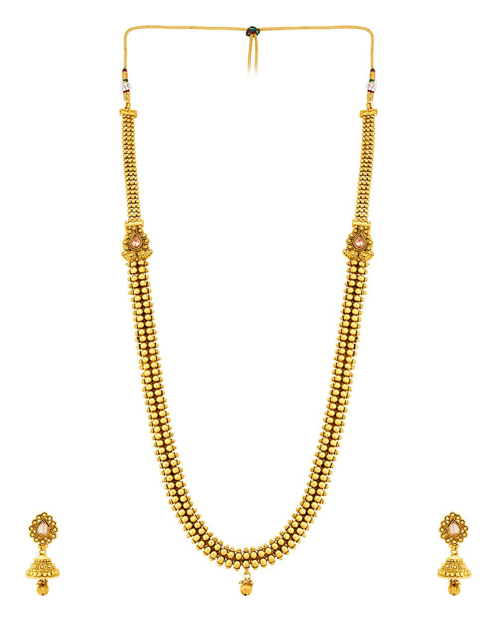 Buy Alluring Gold Plated Sanskriti Rani Haar Necklace Set Online ...