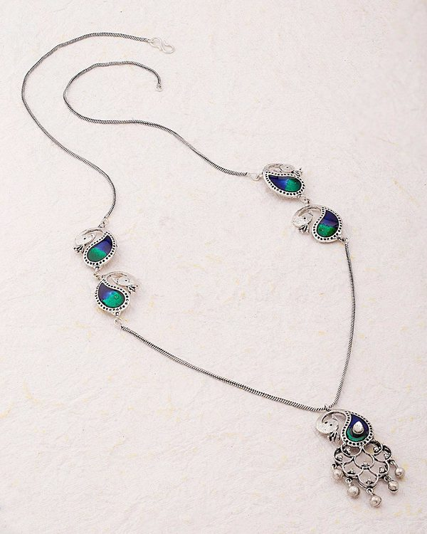 Enameled Peacock Oxidized Pinjar Necklace
