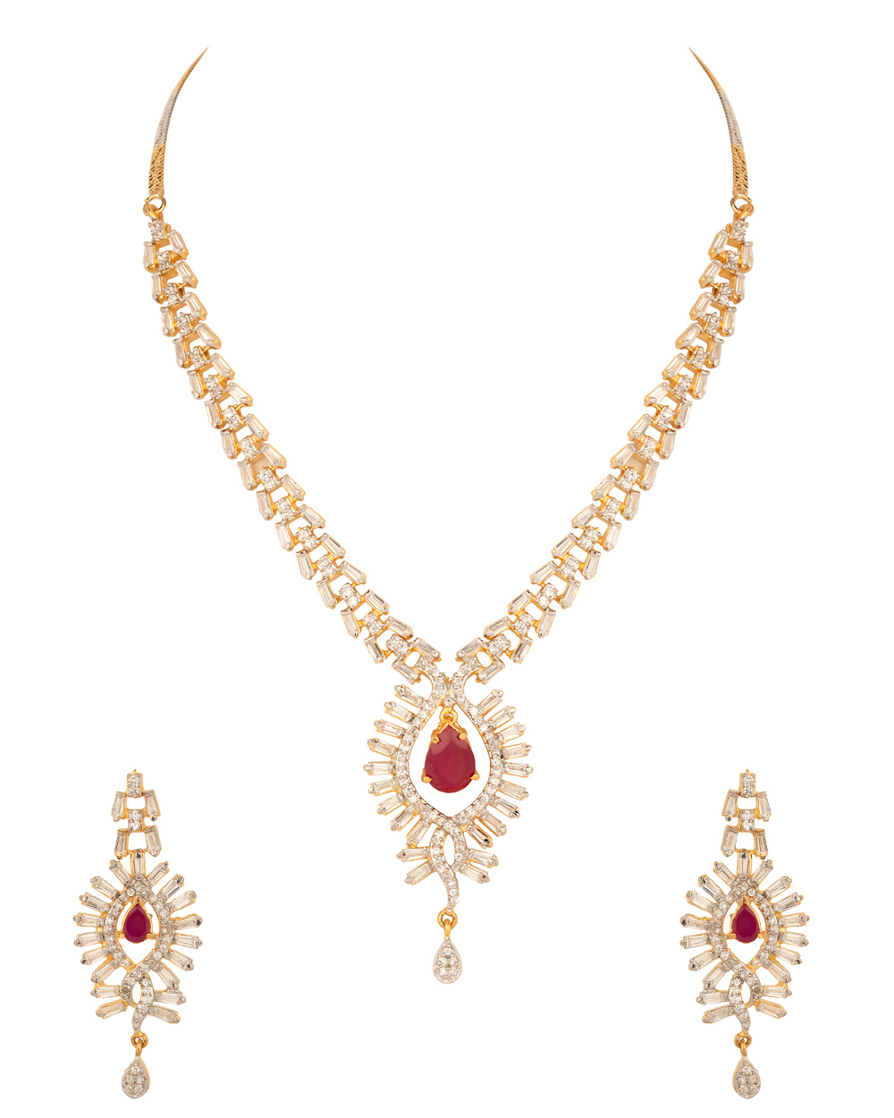 Buy Gold Plated Cz Necklace Set With Maroon Stones; Drop Design ...
