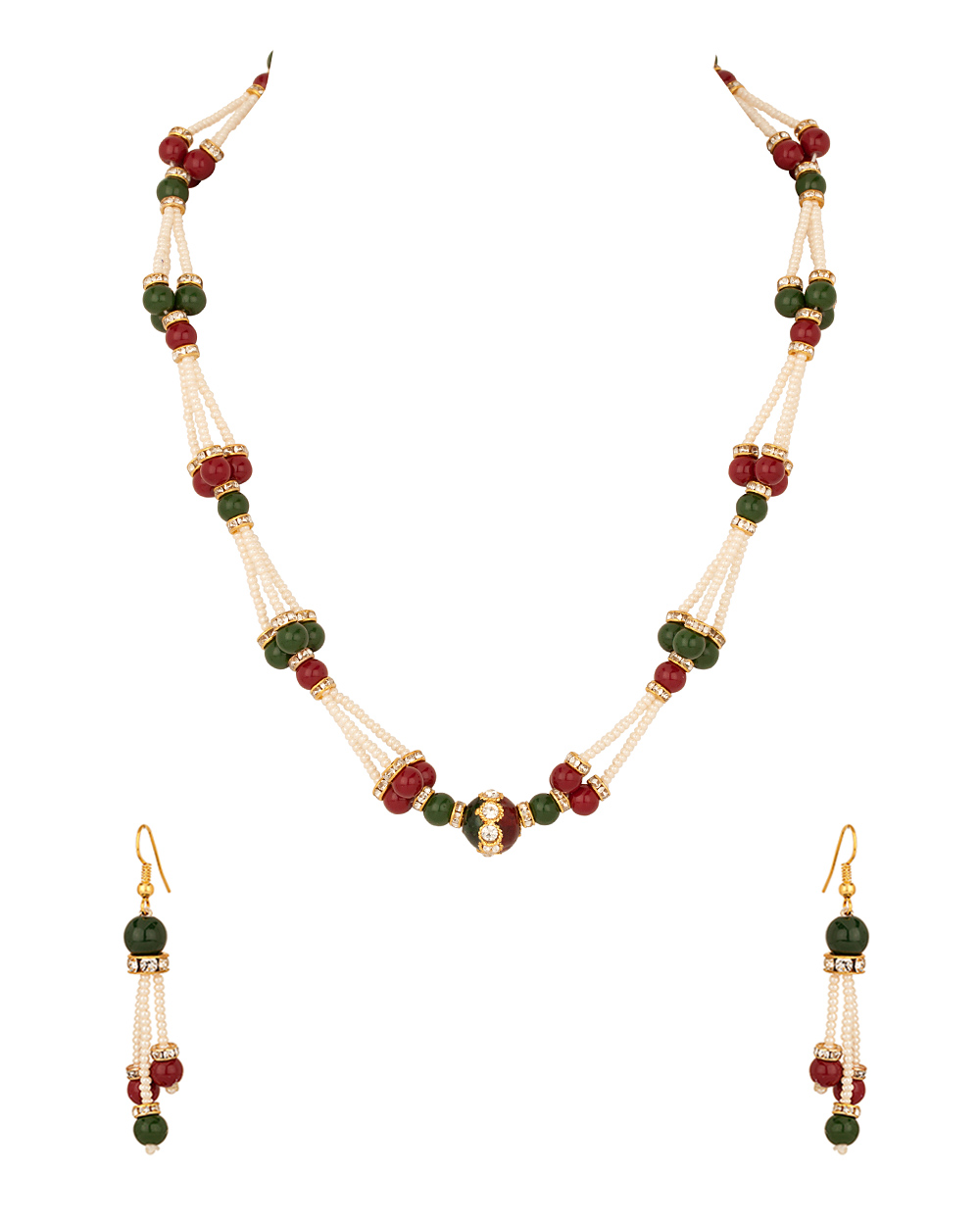 Buy Pearl Necklace Set With Round Pendant; Red; Green Beads Design ...