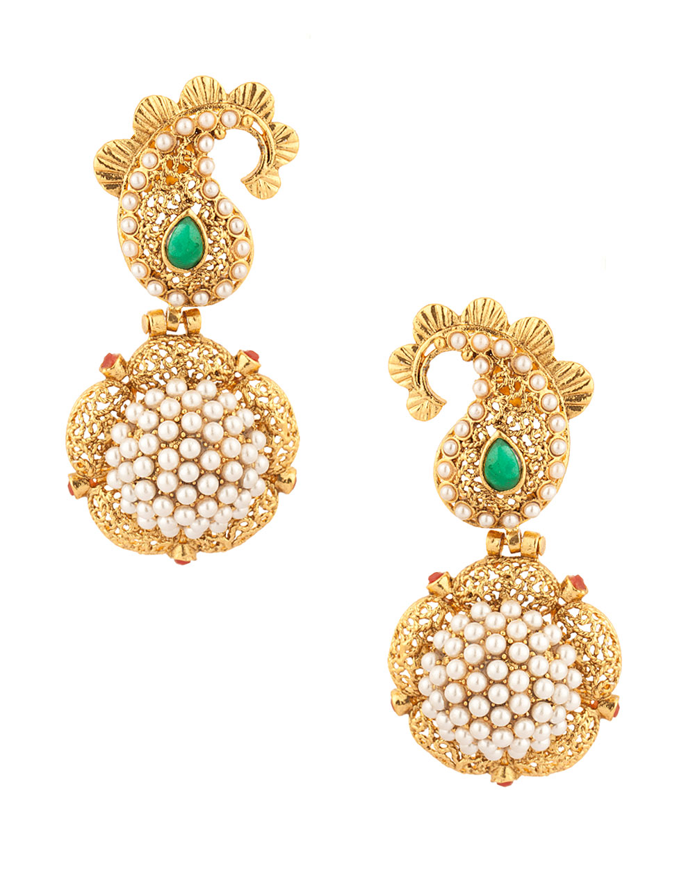 Buy Drop Earrings with Paisley Design; Filigree; Green Stone; Gold ...