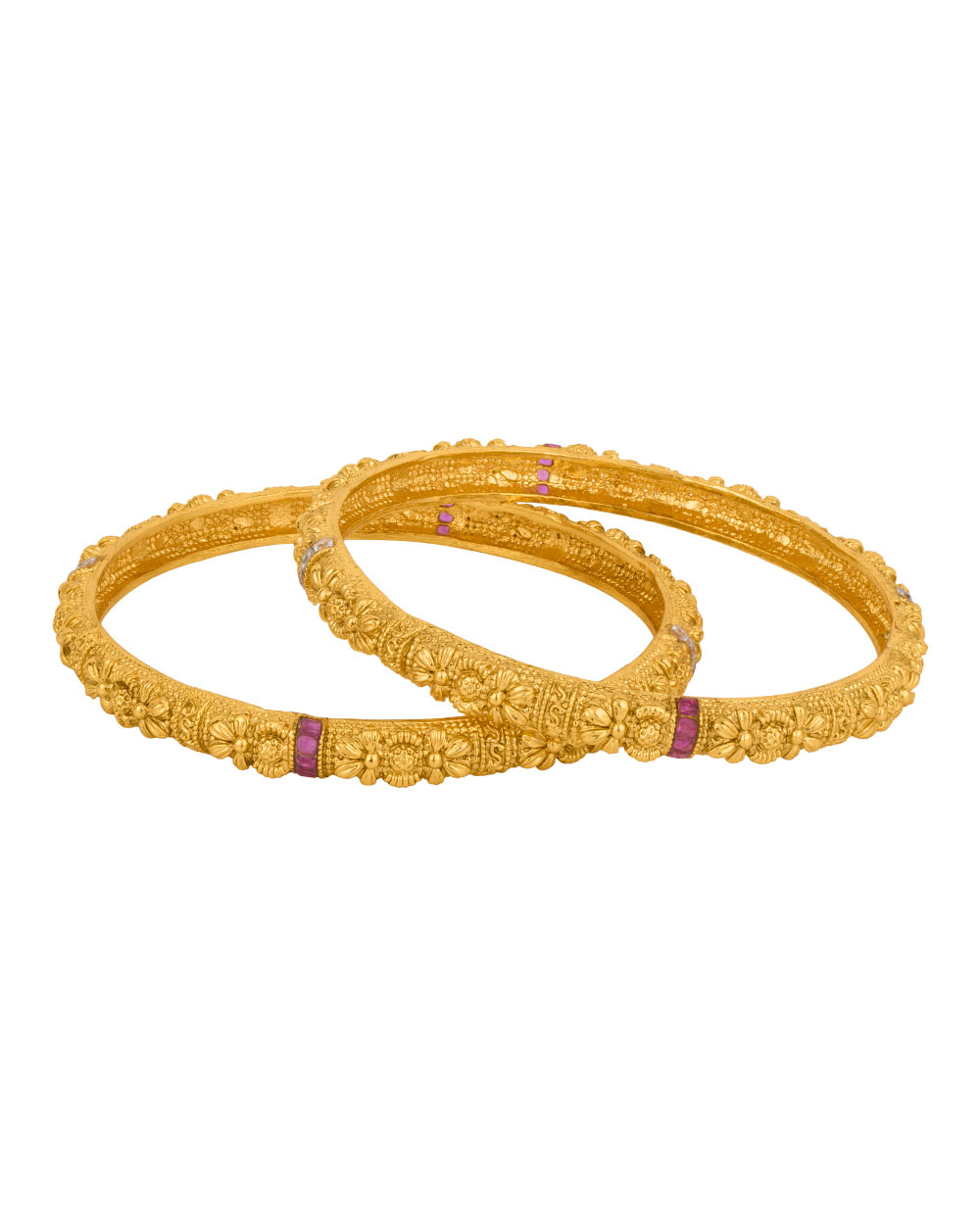 Voylla offers Gold Plated Floral Charming Band Bangles