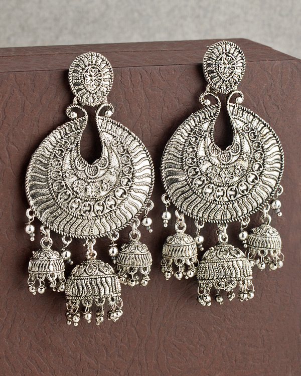 Designer Earrings Three Domed Oxidized Silver Plated Earring From Corrode Collection Online Voylla