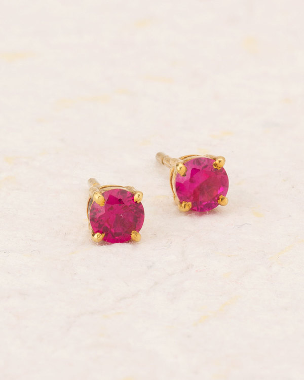 Red Ruby Adorned Gold Plated Stud Earrings