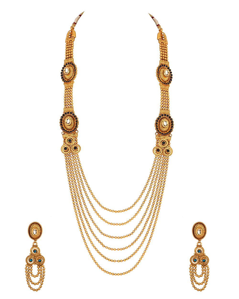 Buy Long Necklace Set with Golden Bead Strands; Blue Stone Studded ...