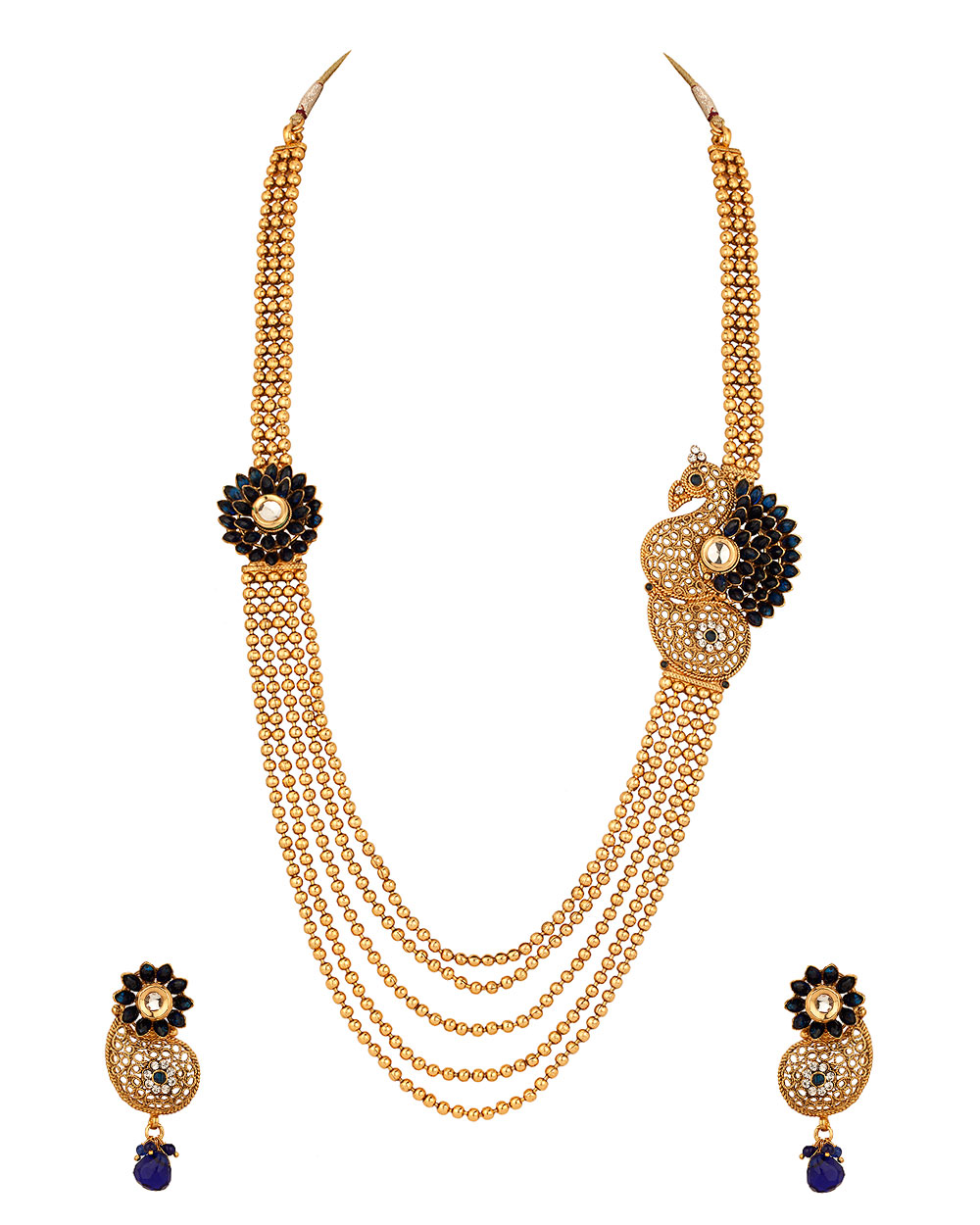 Buy Gold Plated Cz Necklace Set With Fascinating Peacock Design ...