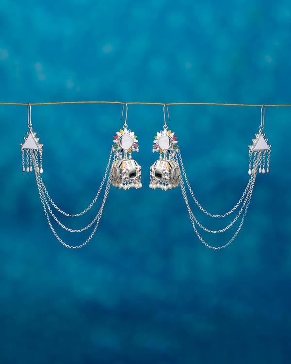 Buy Designer Earrings Stylish Silver Plated Jhumki Earrings With ...