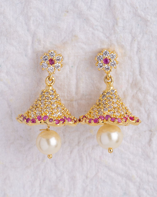 Designer Earrings Cz Studded Jhumka Online Voylla