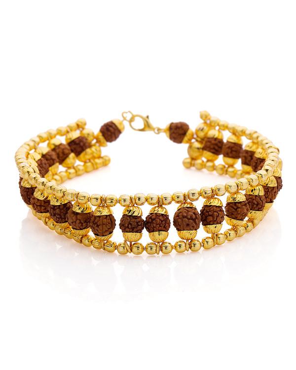 Designer Mens Bracelets Men S Gold Plated Beaded Rudraksha Bracelet Online Voylla