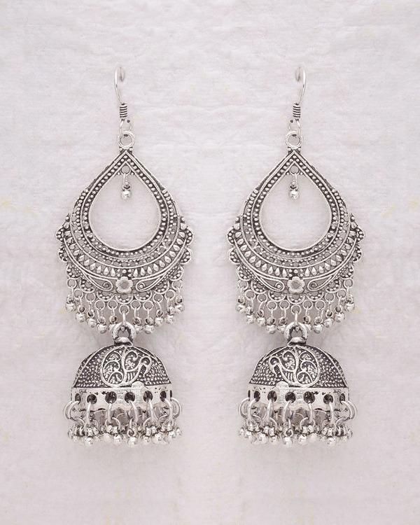 300dc5965f585 Ethnic Silver Oxidized Jhumka Earrings