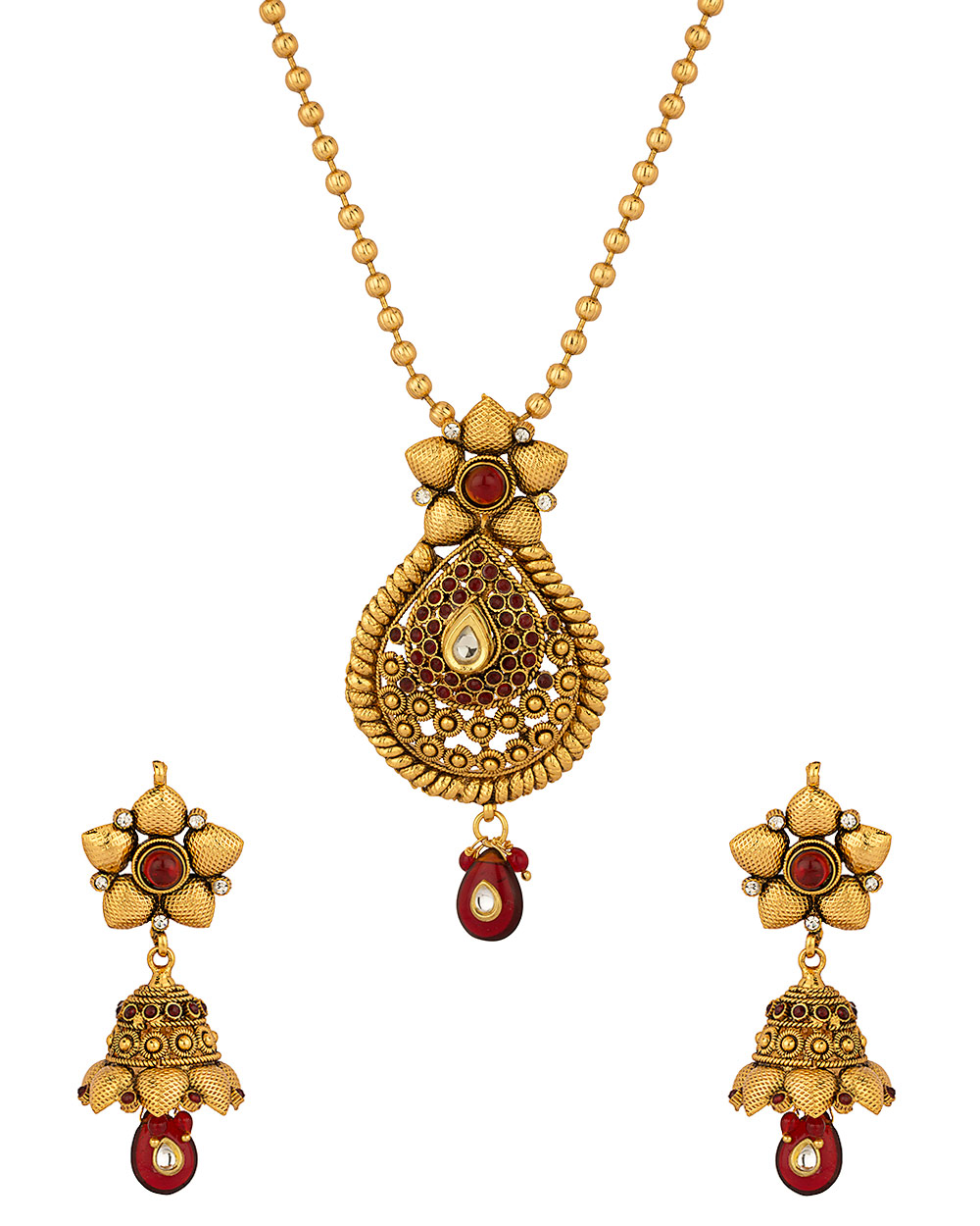 Buy Gold Plated Kundan Pendant Set With Magnificent Floral-Drop ...