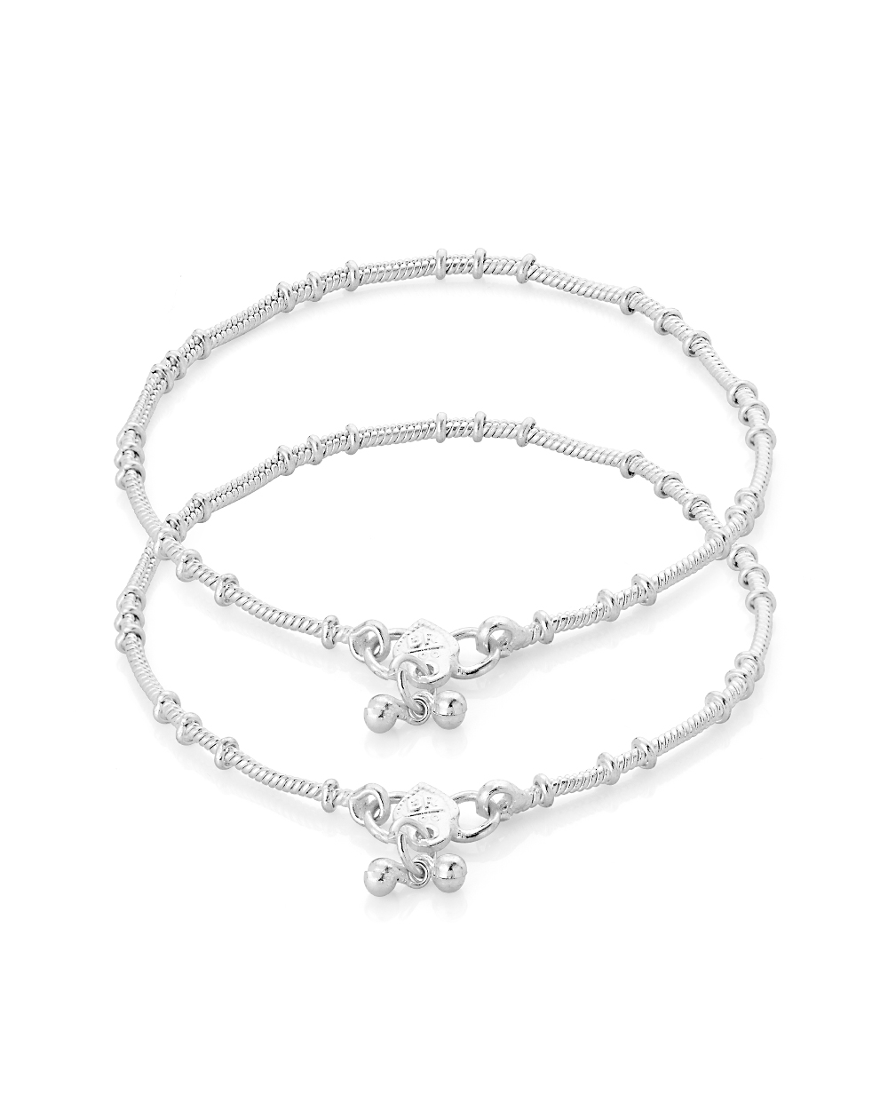 Buy Silver Plated Shiny Anklet Pair With Simple Design Online ...