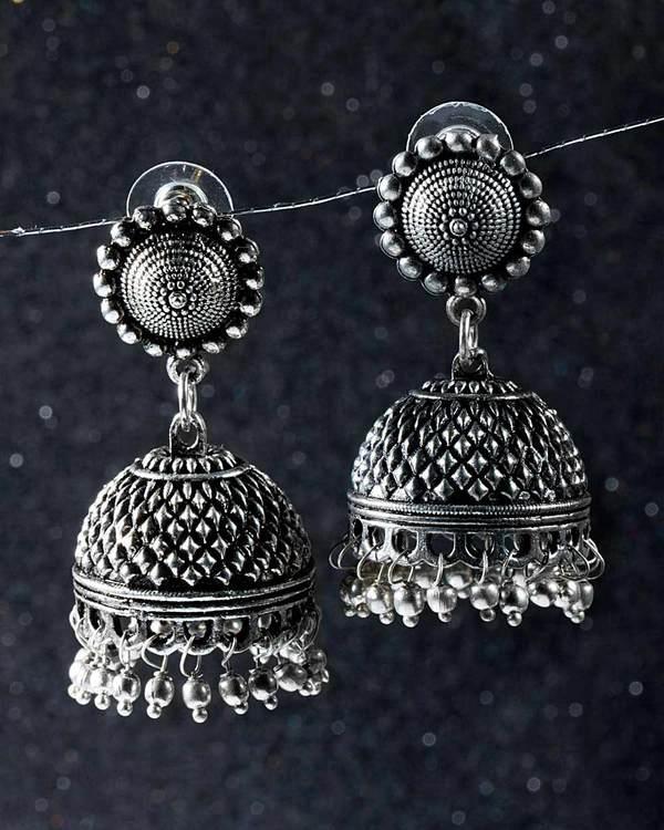 Designer Earrings Beautiful Oxidised Silver Plated Jhumka Online Voylla