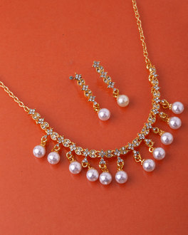 9190c98815f2b Buy Silver, Gold Plated, CZ, Pearl Diamond Necklace Sets for Women ...
