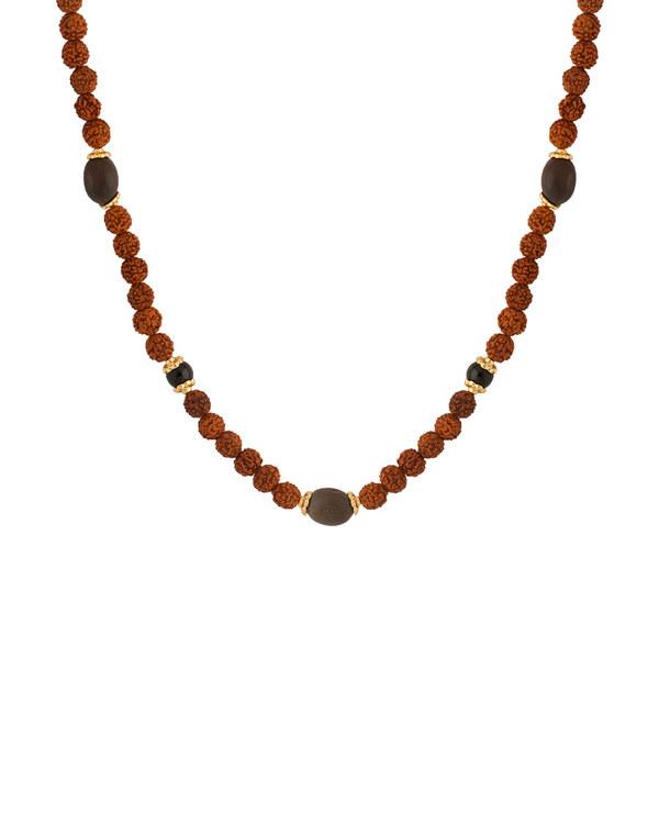 036e8cad6f37c Rudraksha With Black Beads Studded Chain For Men