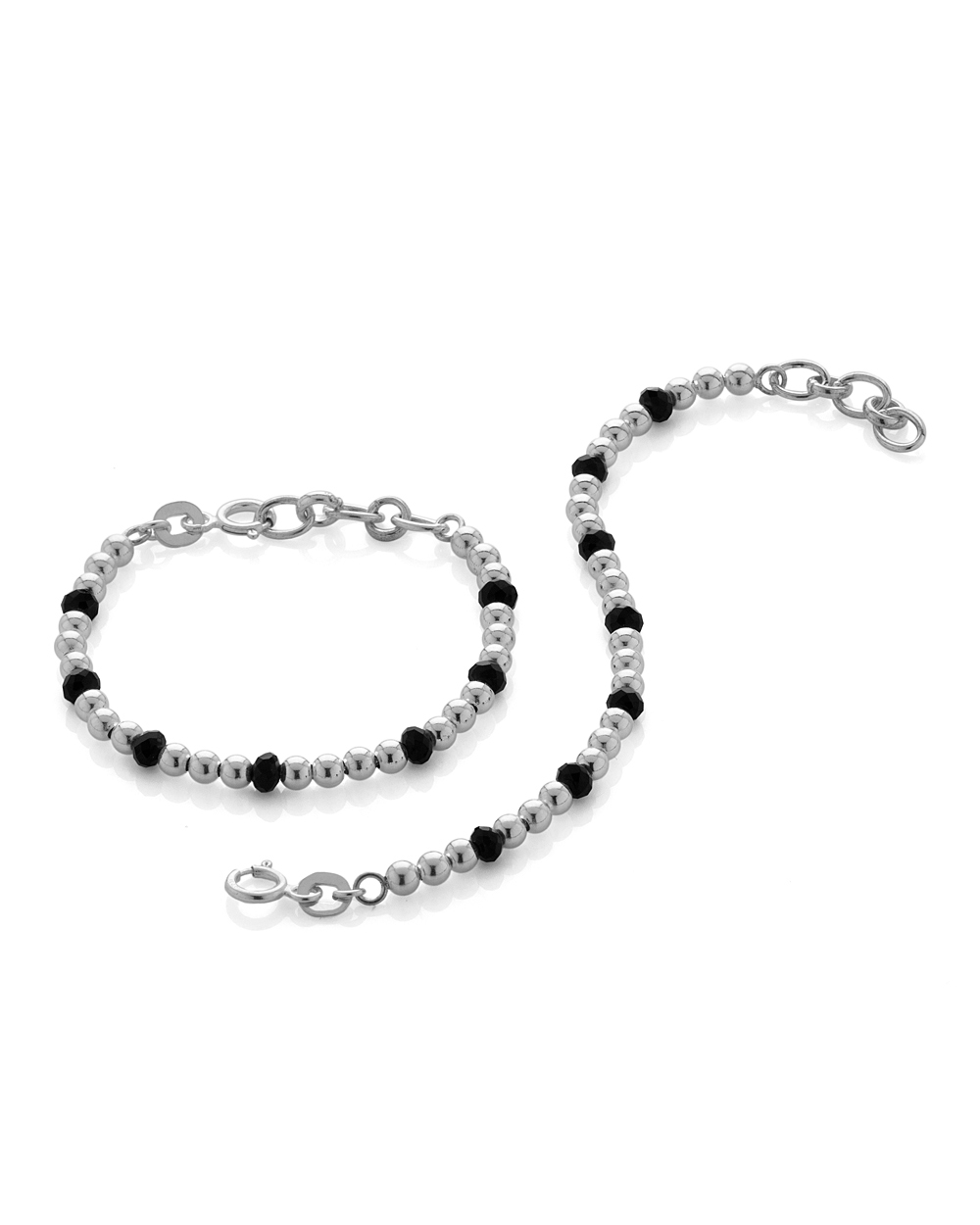 Buy 925 Silver Baby Bracelets With Black Beads Online India | Voylla