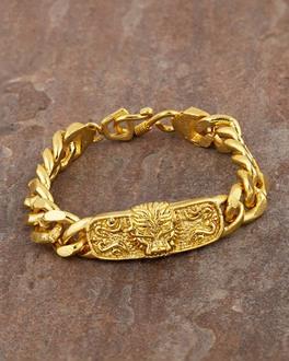 3a3ab86a652de Yellow Gold Plated Link Bracelet For Men In Lion Design   VOYLLA ...