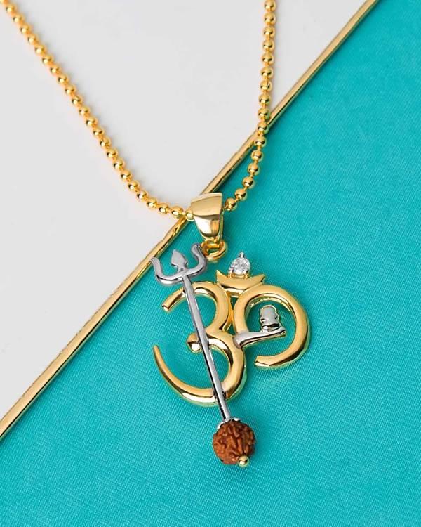 451f865dc10a1 OM Design Rudraksha Studded Pendant With Chain For Men