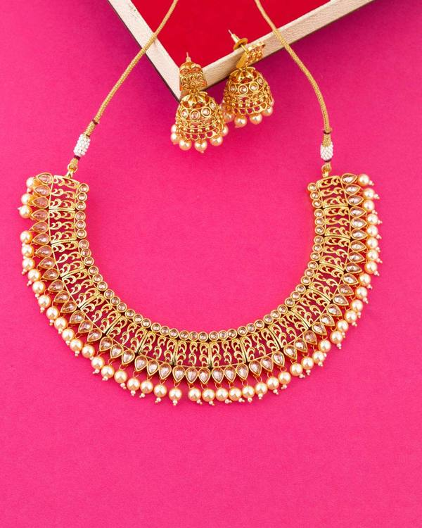 e4a84dd3f7f6b Gold Plated Embellished Necklace Set