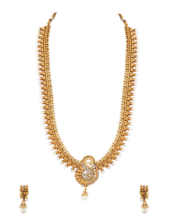 Buy designer necklace sets temple jewellery long necklace featuring temple jewellery long necklace featuring golden swan pendant pearl drop aloadofball Choice Image